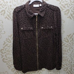 Belle by Kim Gravel Animal Print Utility Shirt
